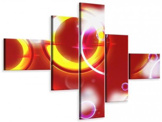 Leinwandbild 5-teilig modern Abstraktes Retro
