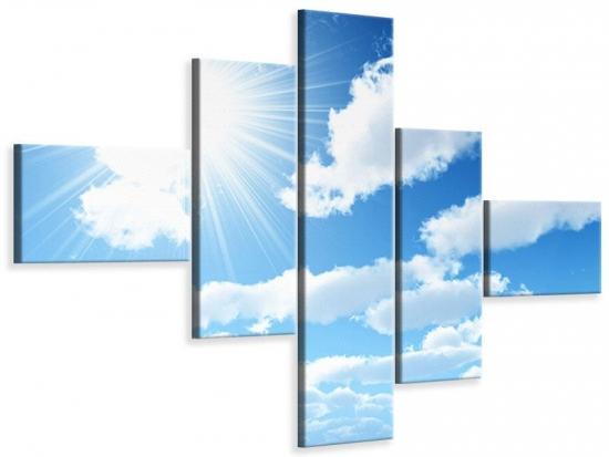 Leinwandbild 5-teilig modern Am Himmel 240 x 160 cm Aussenmass|(1 x 40x160 cm, 2 x 40x100 cm, 2 x 60x40 cm)