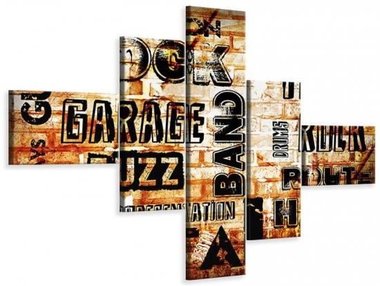 Leinwandbild 5-teilig modern Rock im Grungestil