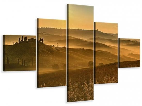 Leinwandbild 5-teilig Sonnenuntergang im Gebirge 200 x 120 cm Aussenmass|(1 x 40x120 cm, 2 x 40x80 cm, 2 x 40x40 cm)