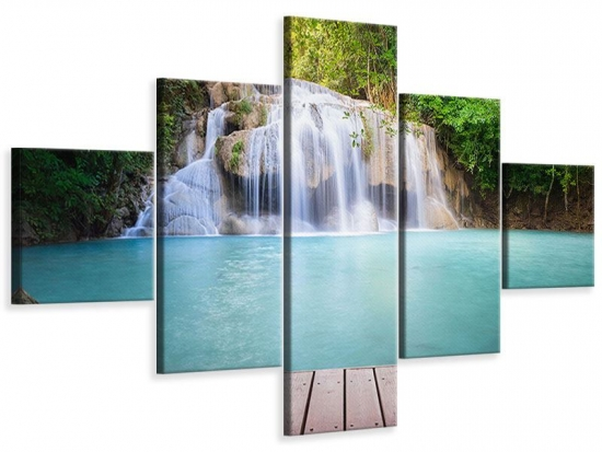 Leinwandbild 5-teilig Terrasse am Wasserfall