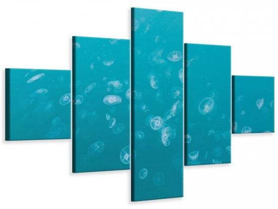 Leinwandbild 5-teilig Viele Quallen 250 x 150 cm Aussenmass|(1 x 50x150 cm, 2 x 50x100 cm, 2 x 50x50 cm)
