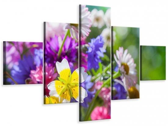 Leinwandbild 5-teilig XXL Gartenblumen