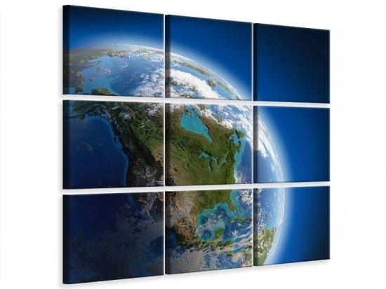 Leinwandbild 9-teilig Die Erde 240 x 240 cm (9 x 80 x 80 cm)