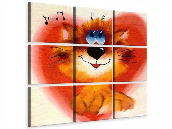 Leinwandbild 9-teilig Happy Cat