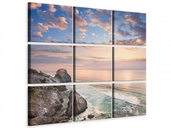 Leinwandbild 9-teilig Romantischer Sonnenuntergang am Meer
