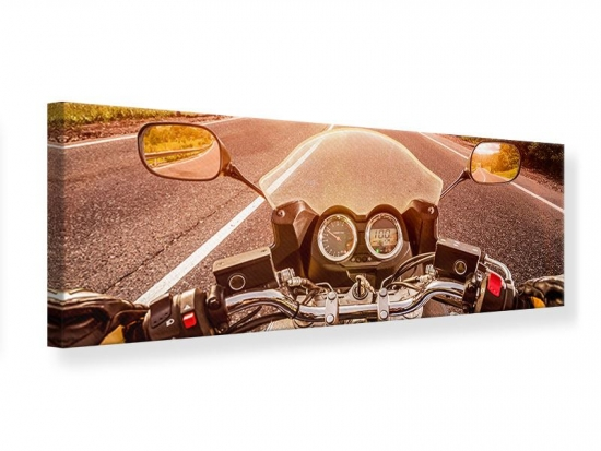 Leinwandbild Panorama Motorrad-Tour
