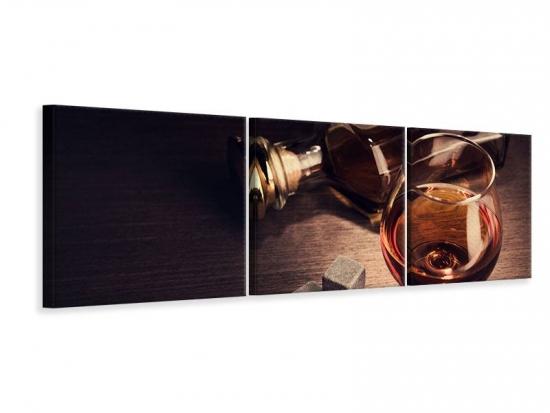 Panorama Leinwandbild 3-teilig Ein Glas Cognac