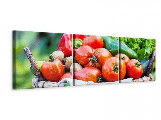 Panorama Leinwandbild 3-teilig Gemüsekorb