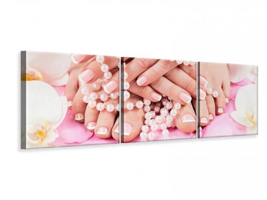 Panorama Leinwandbild 3-teilig Hände und Füsse