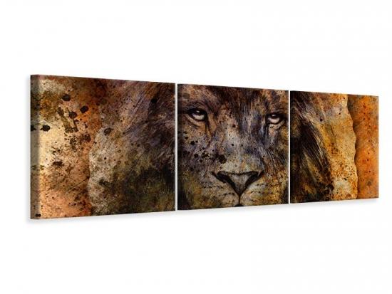 Panorama Leinwandbild 3-teilig Portrait eines Löwen