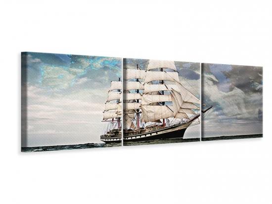 Panorama Leinwandbild 3-teilig Segelschiff