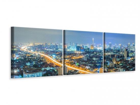 Panorama Leinwandbild 3-teilig Skyline Bangkok im Fieber der Nacht