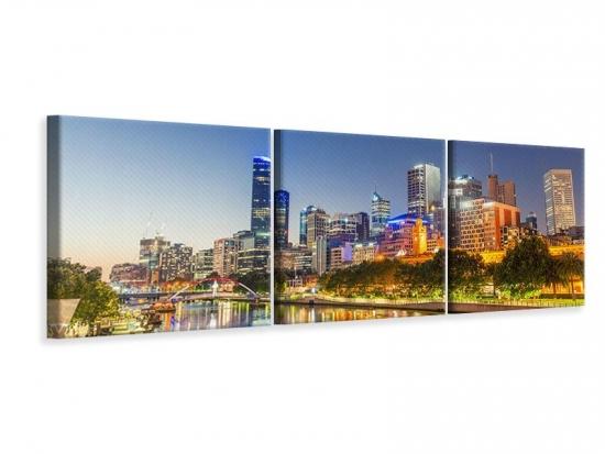 Panorama Leinwandbild 3-teilig Skyline Sydney in der Abenddämmerung