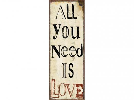 Vintage Dekoschild ALL YOU NEED IS LOVE