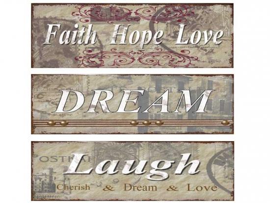 Vintage Dekoschild FAITH, HOPE, LOVE
