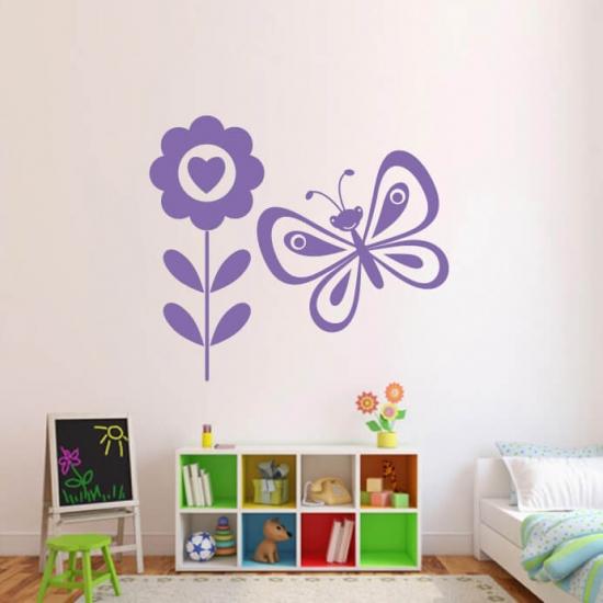 Wandtattoo Schmetterling mit Blume Baby
