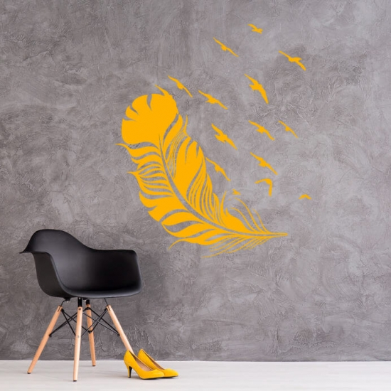 Wandtattoo Feder mit Vogelschwarm