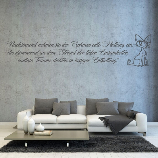 Wandtattoo Gedicht über eine Katze 50 x 11 cm