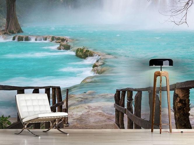 Vlies Fototapete Haus am Wasserfall