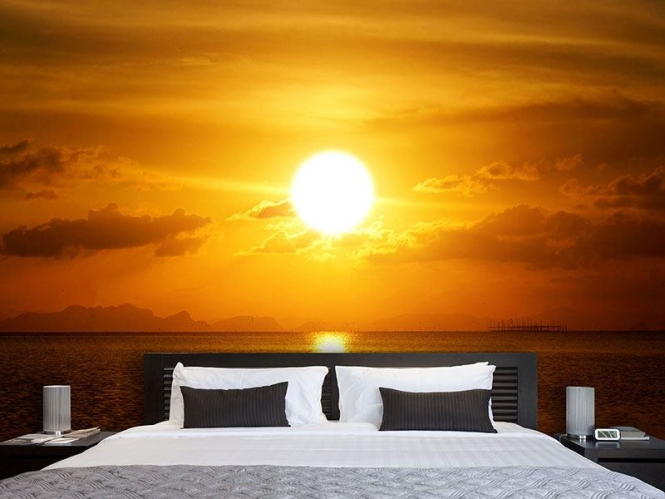 vlies fototapete sonnenuntergang see versandkostenfrei ab 40. Black Bedroom Furniture Sets. Home Design Ideas