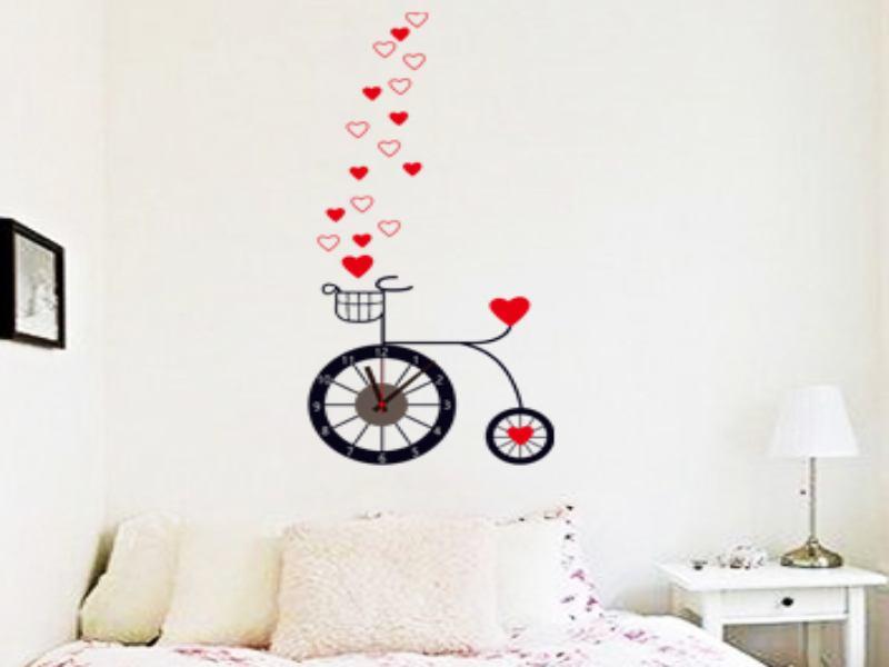 Uhrenwandtattoo | Fahrrad | Liebe | Wandaufkleber mit Uhrwerk
